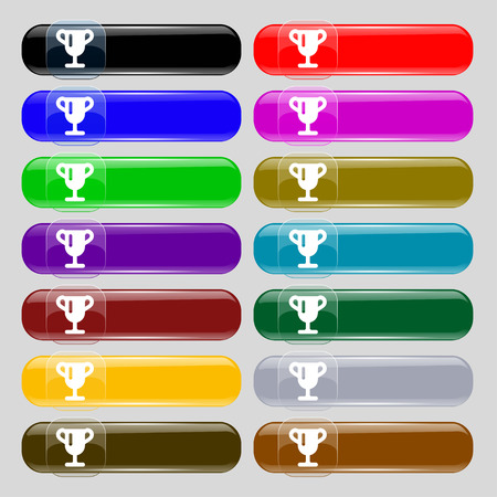 awarding: Winner cup, Awarding of winners, Trophy  icon sign. Set from fourteen multi-colored glass buttons with place for text. Vector illustration