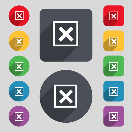 false: Cancel  icon sign. A set of 12 colored buttons and a long shadow. Flat design. Vector illustration Illustration