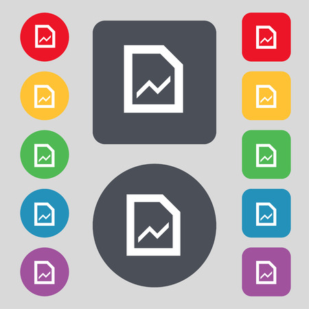 upturn: Growth and development concept. graph of Rate icon sign. A set of 12 colored buttons. Flat design. Vector illustration Illustration
