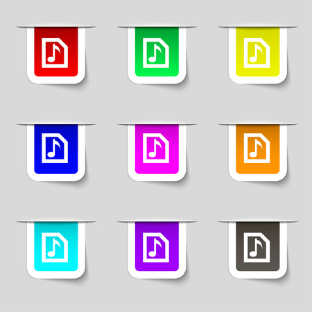 file types: Audio, MP3 file icon sign. Set of multicolored modern labels for your design. Vector illustration