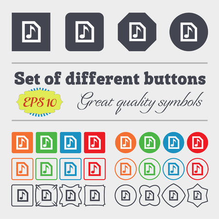 file types: Audio, MP3 file  icon sign Big set of colorful, diverse, high-quality buttons. Vector illustration