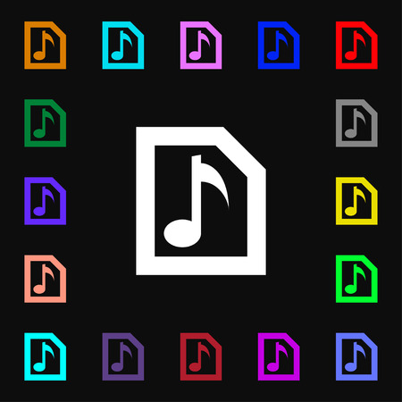 file types: Audio, MP3 file  icon sign. Lots of colorful symbols for your design. Vector illustration