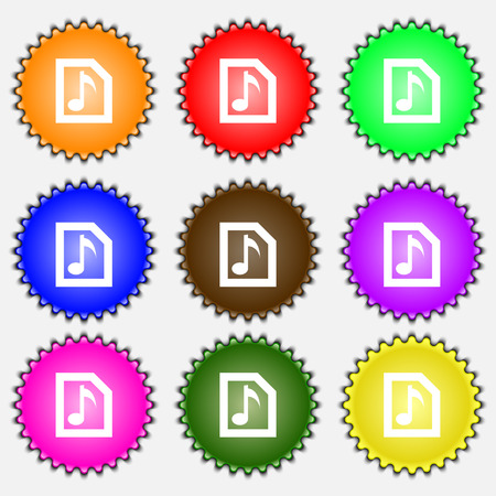 file types: Audio, MP3 file  icon sign. A set of nine different colored labels. Vector illustration