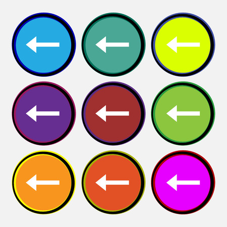 way out: Arrow left, Way out  icon sign. Nine multi-colored round buttons. Vector illustration