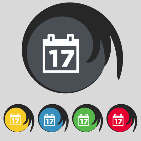 event planning: Calendar, Date or event reminder icon sign. Symbol on five colored buttons. Vector illustration