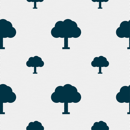 coma: Tree, Forest icon sign. Seamless pattern with geometric texture. Vector illustration