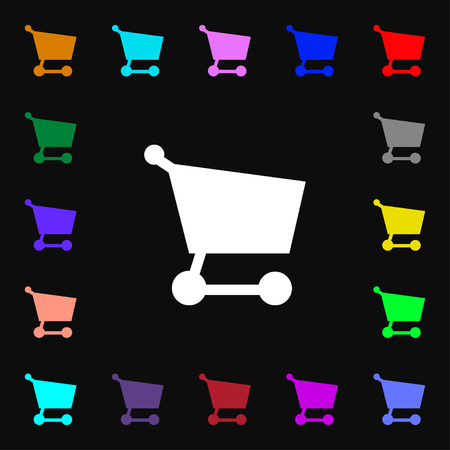 Shopping basket  icon sign. Lots of colorful symbols for your design. Vector illustration Vector