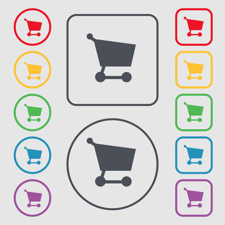Shopping basket icon sign. symbol on the Round and square buttons with frame. Vector illustration Vector