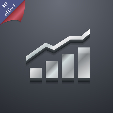 upturn: Growth and development concept. graph of Rate  icon symbol. 3D style. Trendy, modern design with space for your text Vector illustration Illustration