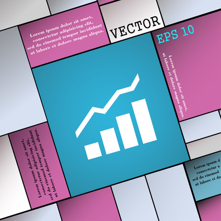 upturn: Growth and development concept. graph of Rate  icon sign. Modern flat style for your design. Vector illustration