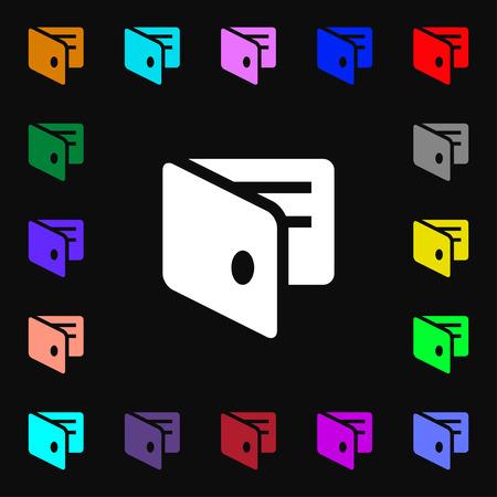 business card holder: eWallet, Electronic wallet, Business Card Holder  icon sign. Lots of colorful symbols for your design. Vector illustration