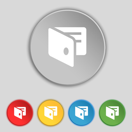 sign holder: eWallet, Electronic wallet, Business Card Holder icon sign. Symbol on five flat buttons. Vector illustration