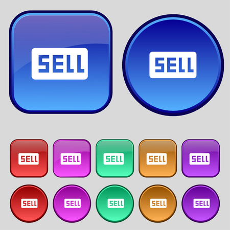 contributor: Sell, Contributor earnings icon sign. A set of twelve vintage buttons for your design. Vector illustration Illustration