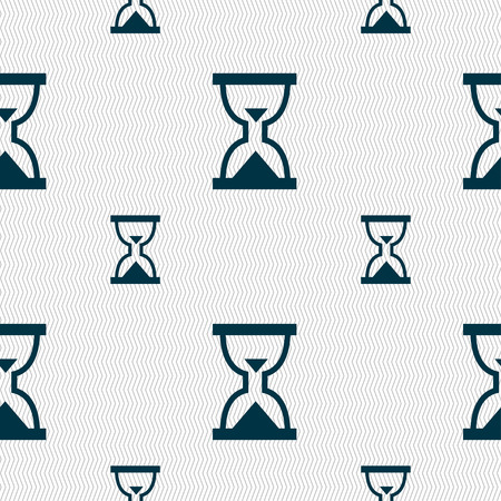 sand timer: Hourglass, Sand timer icon sign. Seamless pattern with geometric texture. Vector illustration