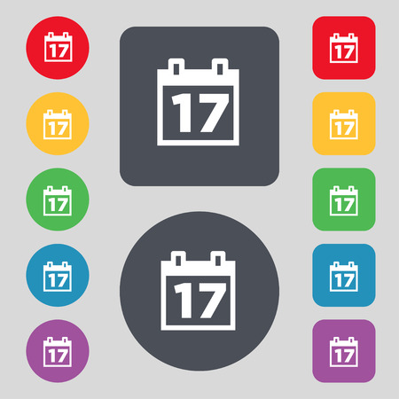 event planning: Calendar, Date or event reminder icon sign. A set of 12 colored buttons. Flat design. Vector illustration Illustration