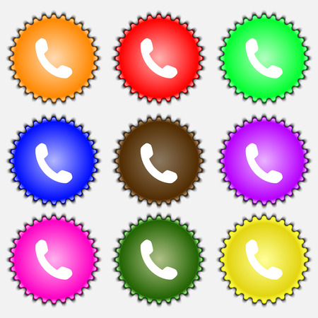 phone support: Phone, Support, Call center  icon sign. A set of nine different colored labels. Vector illustration Illustration
