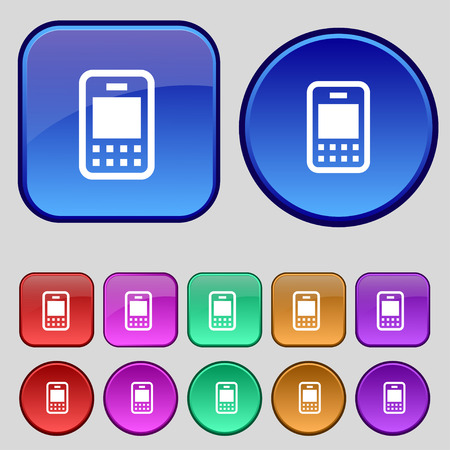 telecommunications: Mobile telecommunications technology icon sign. A set of twelve vintage buttons for your design. Vector illustration