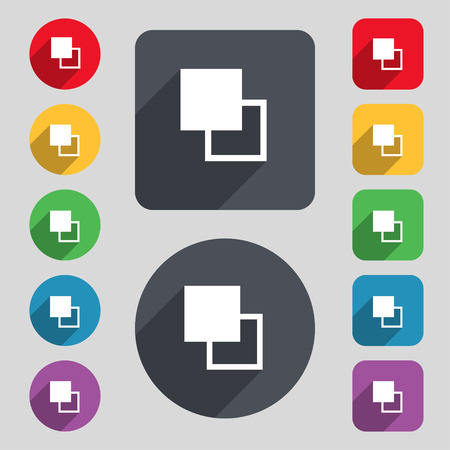 Active color toolbar icon sign. A set of 12 colored buttons and a long shadow. Flat design. Vector illustration