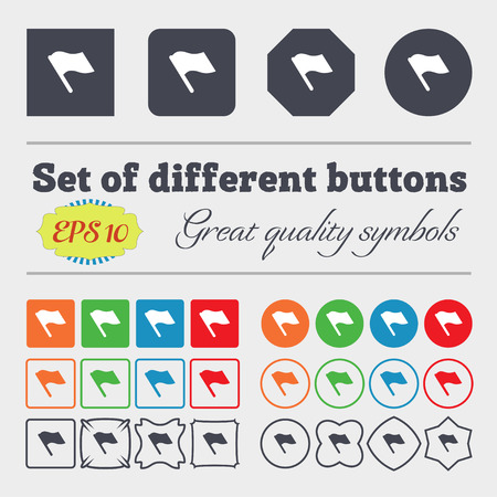 abort: Finish, start flag  icon sign Big set of colorful, diverse, high-quality buttons. Vector illustration Illustration