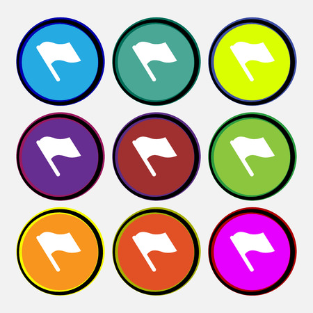 abort: Finish, start flag  icon sign. Nine multi-colored round buttons. Vector illustration