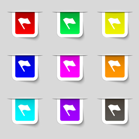 abort: Finish, start flag icon sign. Set of multicolored modern labels for your design. Vector illustration