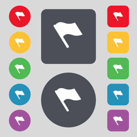 abort: Finish, start flag icon sign. A set of 12 colored buttons. Flat design. Vector illustration