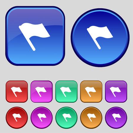 Finish, start flag icon sign. A set of twelve vintage buttons for your design. Vector illustration Illustration