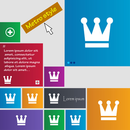 King, Crown icon sign. Metro style buttons. Modern interface website buttons with cursor pointer. Vector illustration Illustration