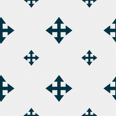 maximize: Deploying video, screen size icon sign. Seamless pattern with geometric texture. Vector illustration