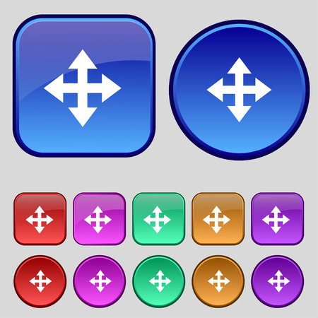 full size: Deploying video, screen size icon sign. A set of twelve vintage buttons for your design. Vector illustration