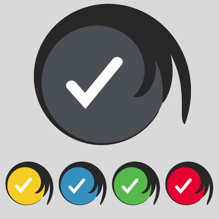 Check mark, tik icon sign. Symbol on five colored buttons. Vector illustration
