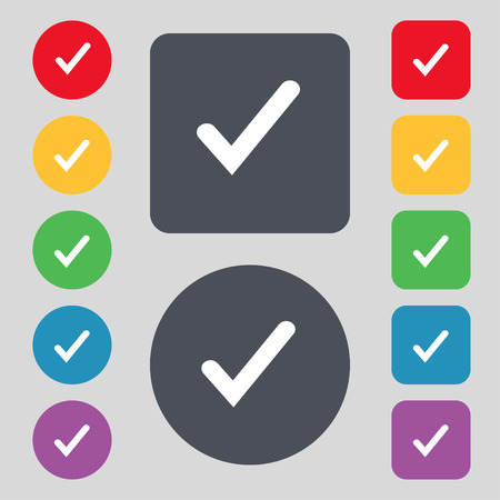 tik: Check mark, tik icon sign. A set of 12 colored buttons. Flat design. Vector illustration