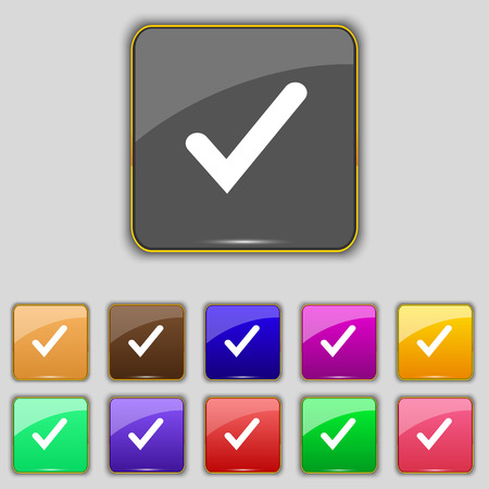 Check mark, tik icon sign. Set with eleven colored buttons for your site. Vector illustration