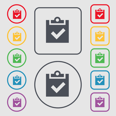 Check mark, tik icon sign. symbol on the Round and square buttons with frame. Vector illustration