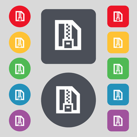 wrapped corner: Archive file, Download compressed, ZIP zipped icon sign. A set of 12 colored buttons. Flat design. Vector illustration