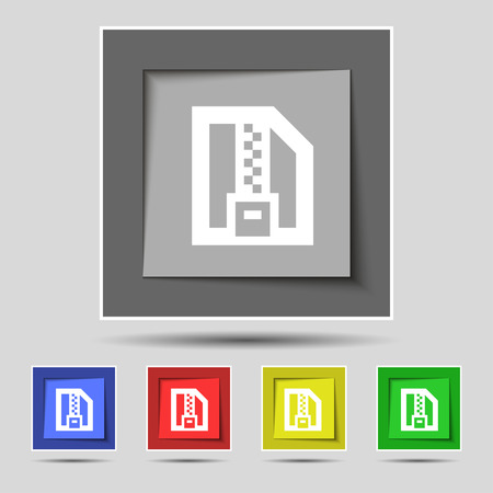 zipped: Archive file, Download compressed, ZIP zipped icon sign on the original five colored buttons. Vector illustration