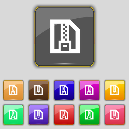 archive site: Archive file, Download compressed, ZIP zipped icon sign. Set with eleven colored buttons for your site. Vector illustration
