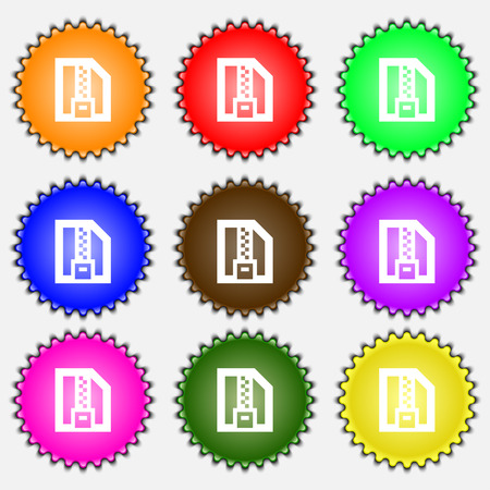 zipped: Archive file, Download compressed, ZIP zipped  icon sign. A set of nine different colored labels. Vector illustration Illustration