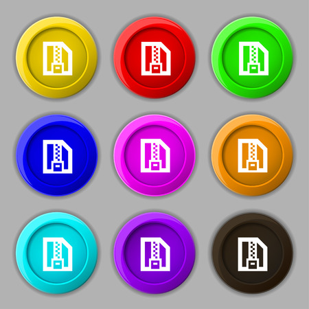 Archive file, Download compressed, ZIP zipped icon sign. symbol on nine round colourful buttons. Vector illustration Vector
