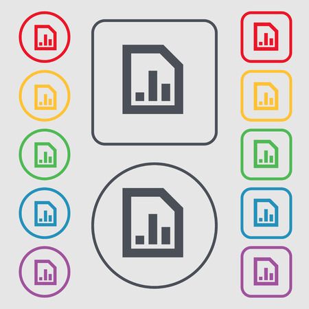 upturn: Growth and development concept. graph of Rate icon sign. symbol on the Round and square buttons with frame. Vector illustration Illustration
