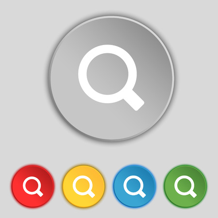 interface menu tool: Magnifier glass icon sign. Symbol on five flat buttons. Vector illustration