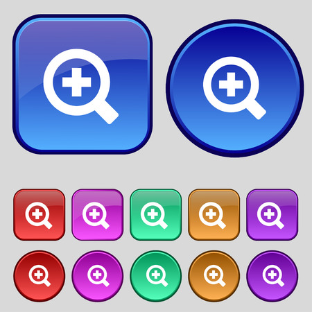 interface menu tool: Magnifier glass, Zoom tool icon sign. A set of twelve vintage buttons for your design. Vector illustration