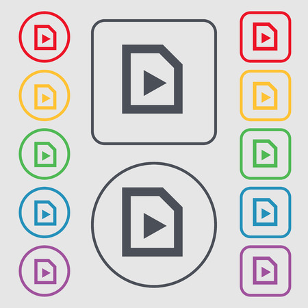 inactive: play icon sign. symbol on the Round and square buttons with frame. Vector illustration Illustration