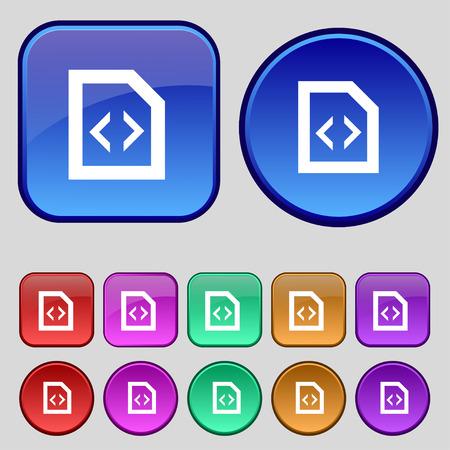 hypertext: Programming code icon sign. A set of twelve vintage buttons for your design. Vector illustration Illustration