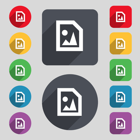 jpeg: File JPG icon sign. A set of 12 colored buttons and a long shadow. Flat design. Vector illustration Illustration