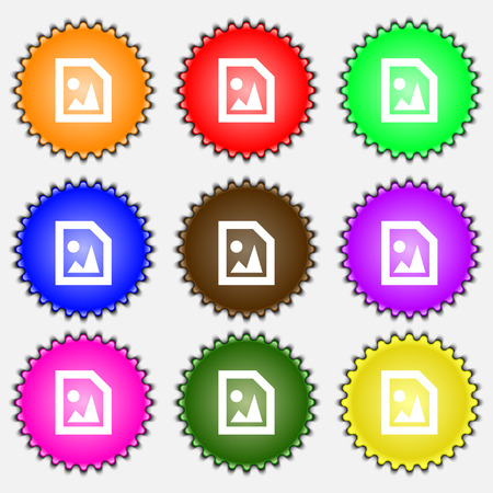 jpeg: File JPG  icon sign. A set of nine different colored labels. Vector illustration