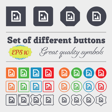 jpeg: File JPG  icon sign Big set of colorful, diverse, high-quality buttons. Vector illustration