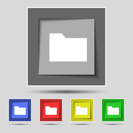 map case: Document folder icon sign on the original five colored buttons. Vector illustration Illustration