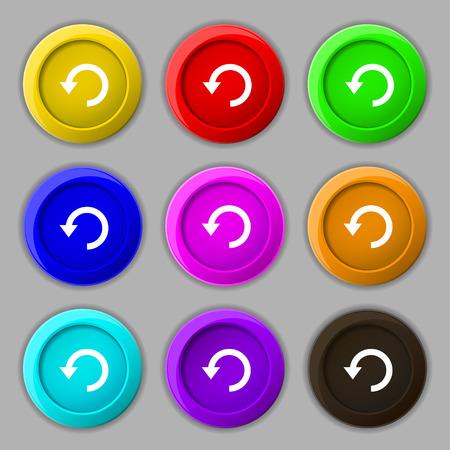 groupware: Upgrade, flecha, icon signo. s�mbolo en botones coloridos nueve redondos. Ilustraci�n vectorial