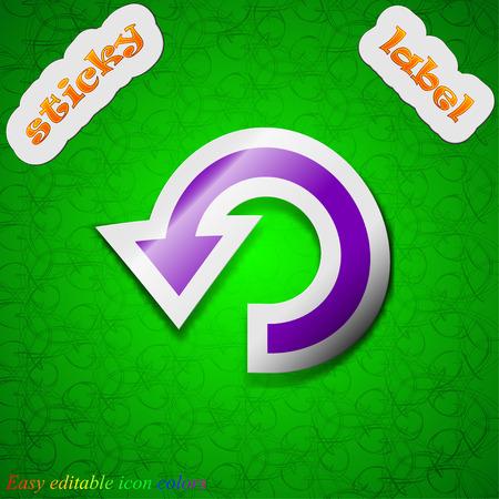 groupware: Upgrade, flecha, icon signo. S�mbolo elegante etiqueta adhesiva de color sobre fondo verde. Ilustraci�n vectorial